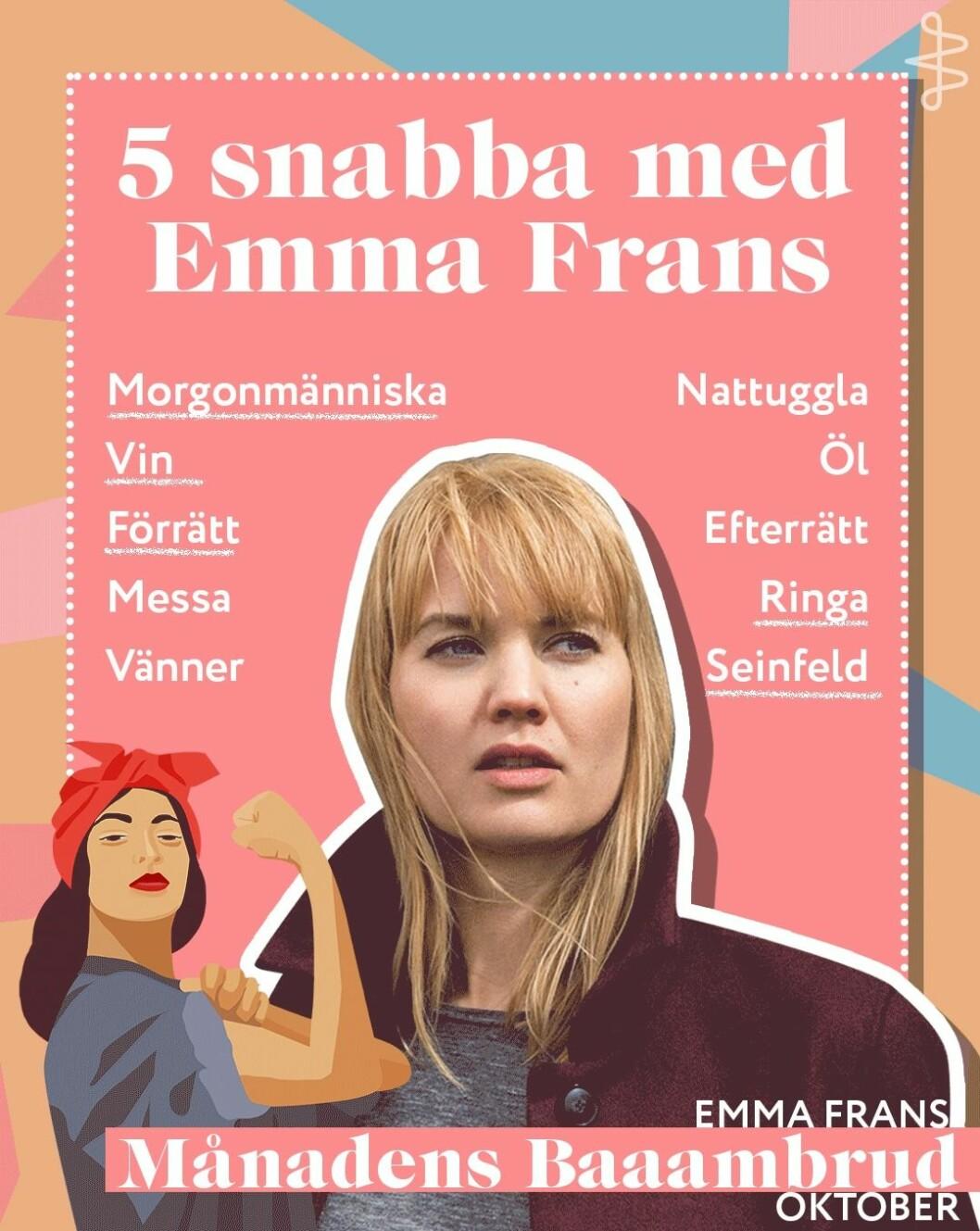 Emma Frans Baaambrud i november 2019