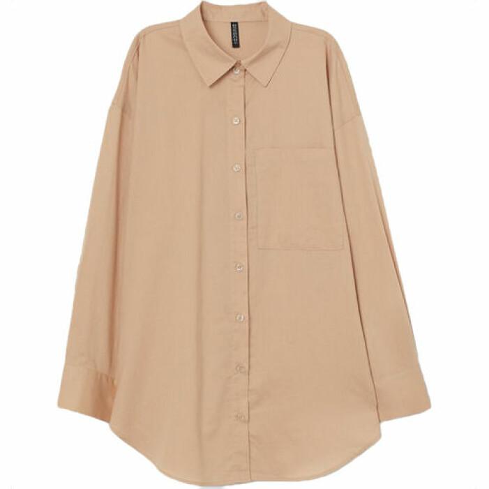 Beige bomullsskjorta i oversize-modell från H&M