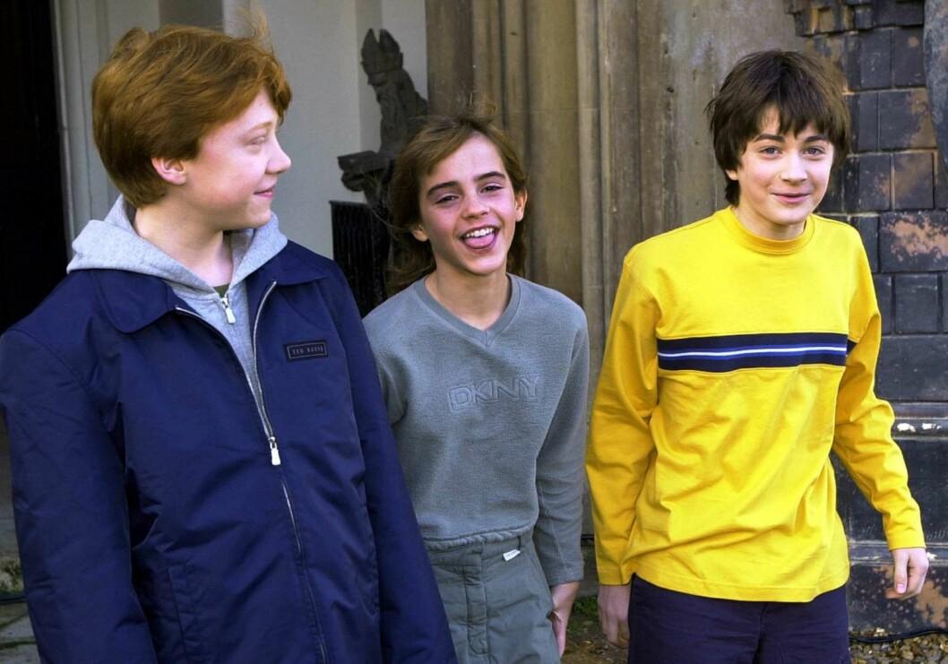 Rupert Grint, Emma Watson och Daniel Radcliffe från Harry Potter som barn
