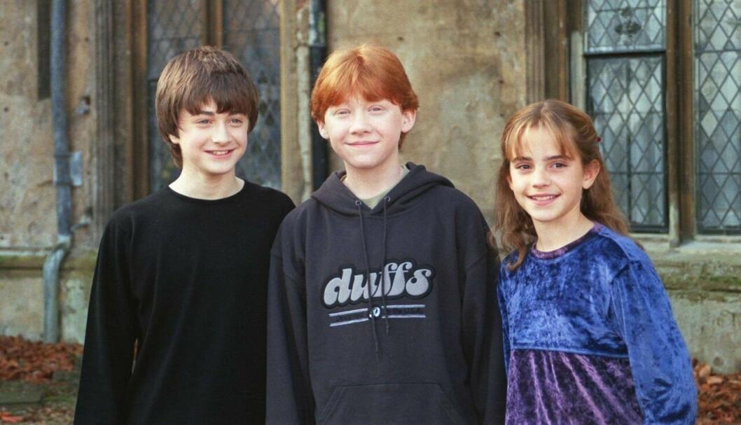 Daniel Radcliffe, Rupert Grint och Emma Watson i Harry Potter, som barn år 2001