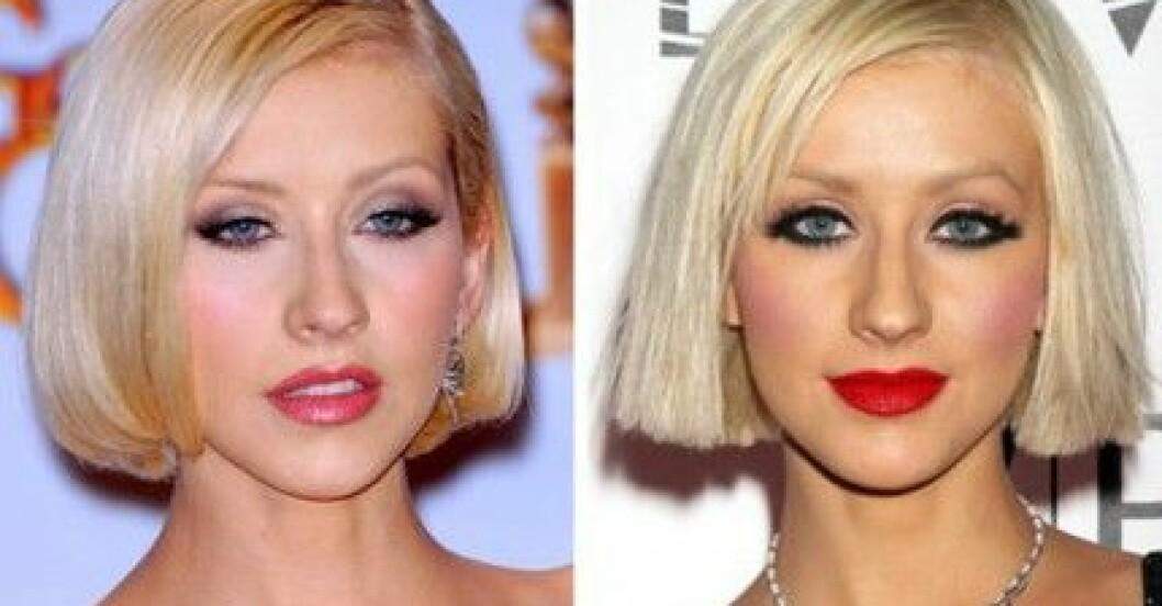 Christina Aguilera i två olika sminkningar. Vilket tycker du är snyggast?