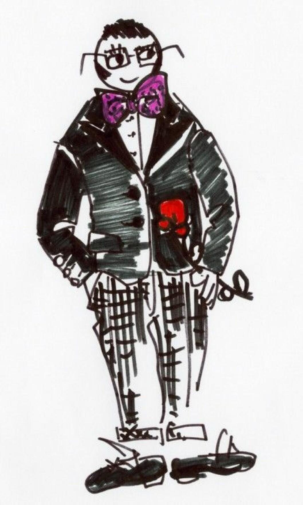En tecknad version av Lanvins chefsdesigner Alber Elbaz.