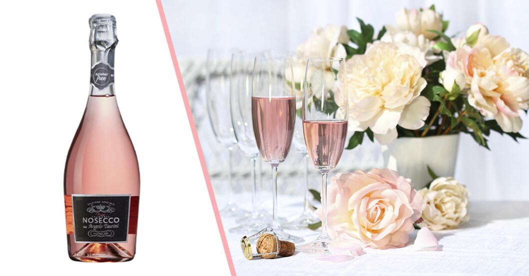 champagneglas med rosa bubbel