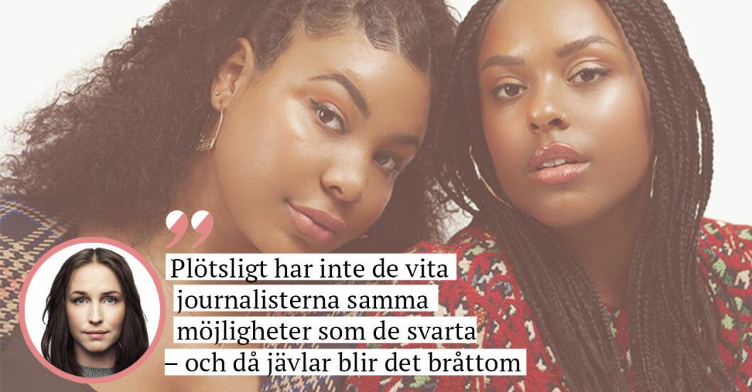 Amie Bramme Sey och Fanna Ndow Norrby i Raseriet och en infälld bild på journalisten Sofia Börjesson.