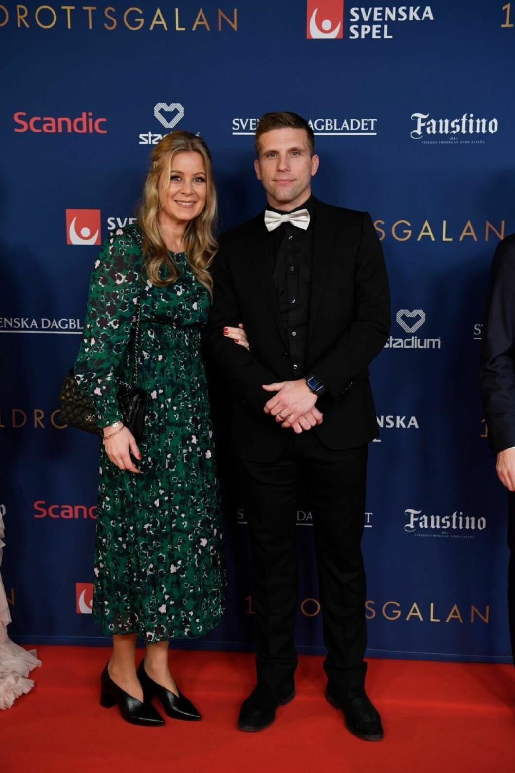 Anders Svensson och Emma Johansson på röda mattan på Idrottsgalan 2020