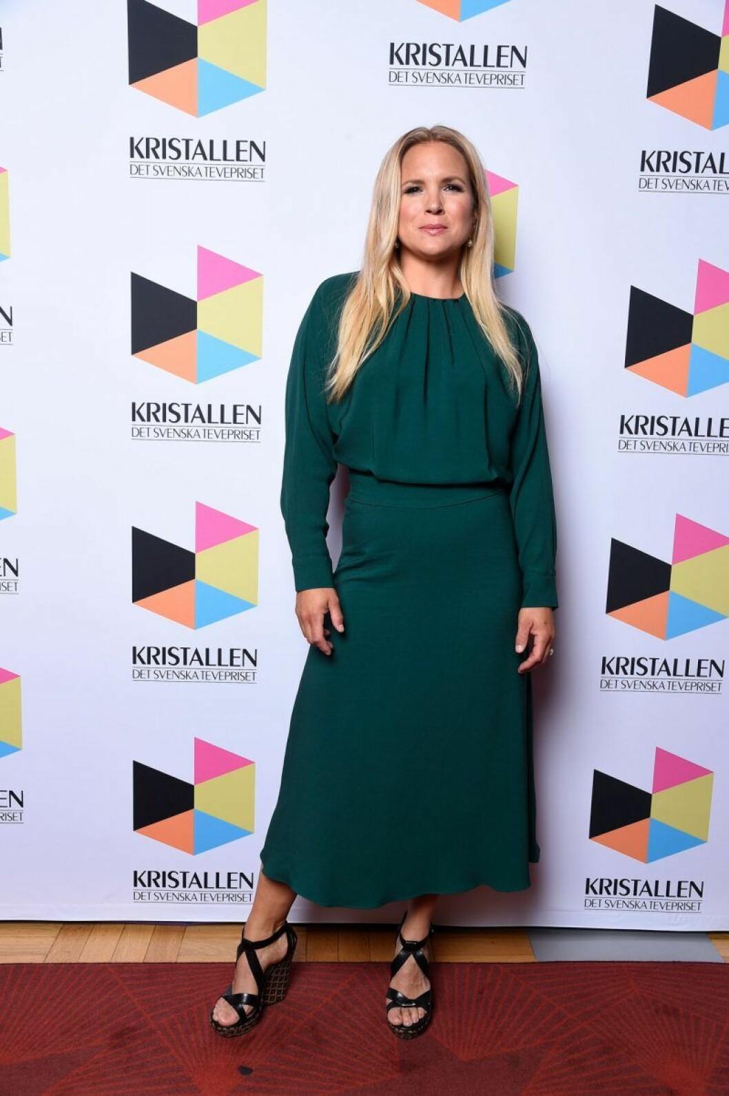Anja Pärson på röda mattan på Kristallen 2020