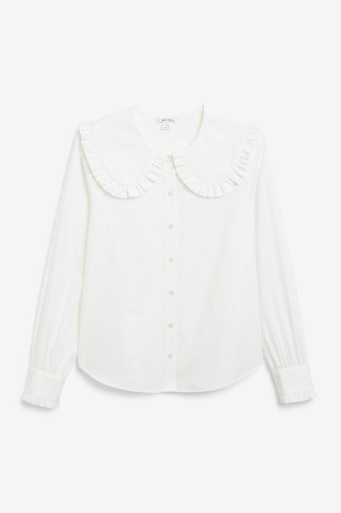 vit skjorta/blus med stor krage