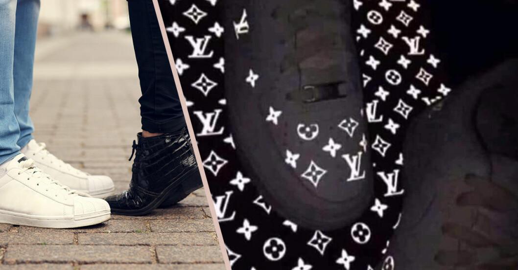 En sko med Louis Vuitton-logga på