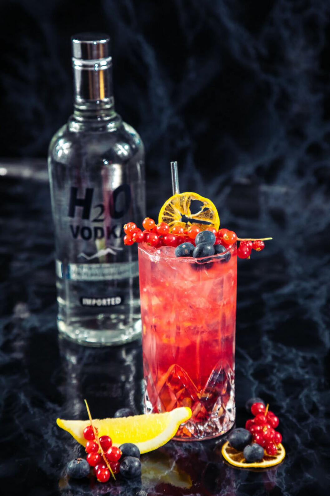 Bärig vodkadrink med blåbär.