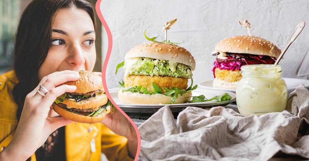 Kvinna äter vegetarisk hamburgare