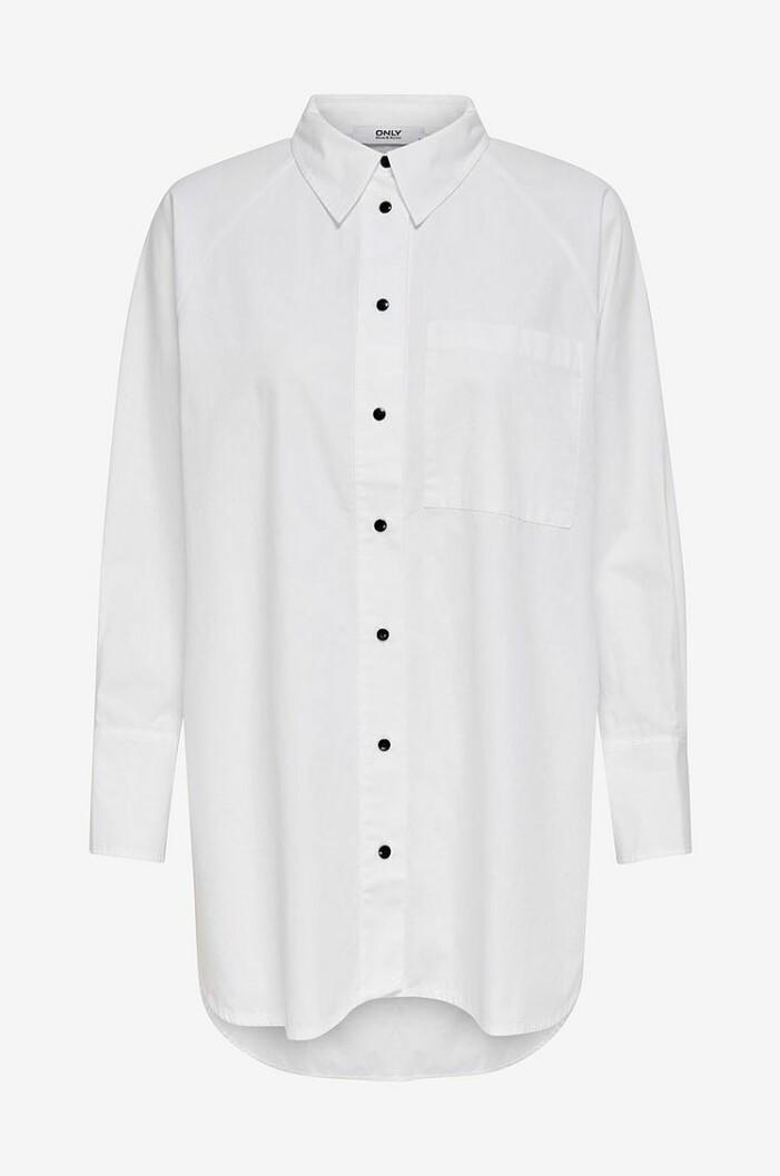 lång vit skjorta med svarta knappar