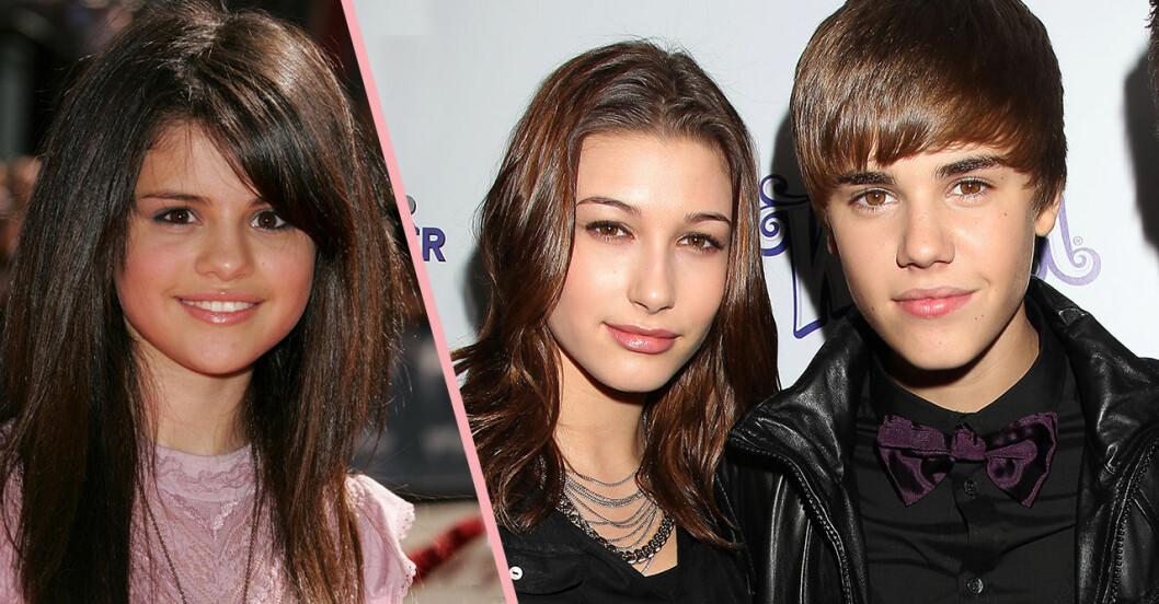 Selena Gomez, Justin Bieber och Hailey Bieber som små