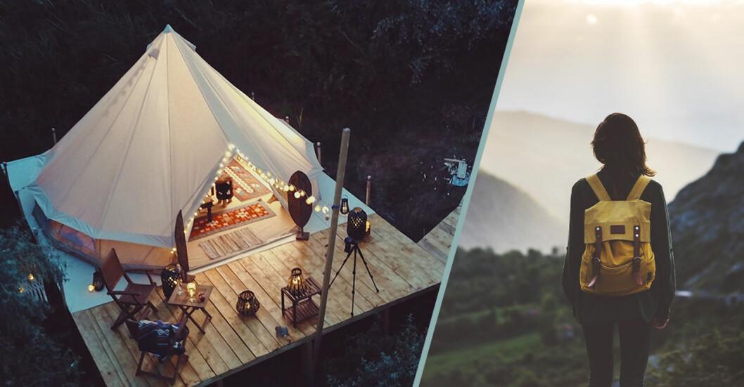 Bild på tält och glamping. Samt bild på tjej som blickar ut över horisont.