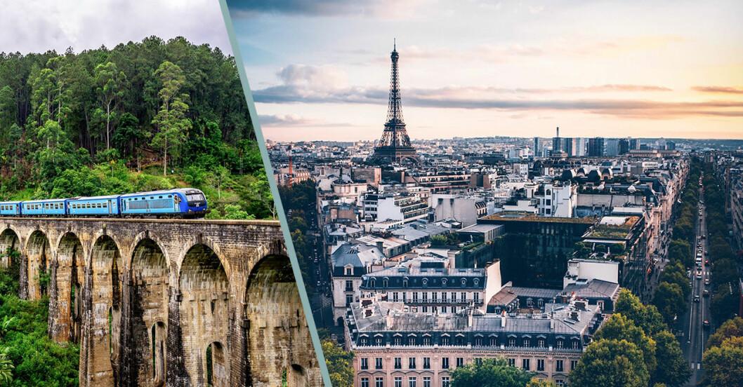 Paris och tåg på bro