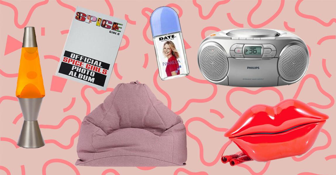 Montage med lavalampa, stereo och telefon.