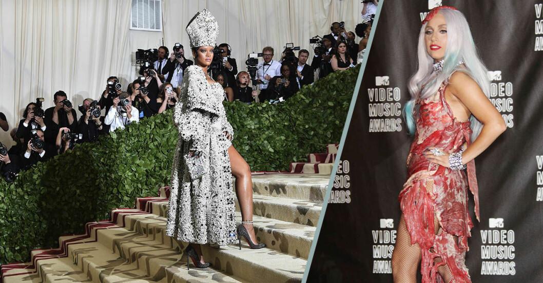 Rihanna iförd outfit som efterliknar påvens och Lady Gaga i sin omtalade köttklänning