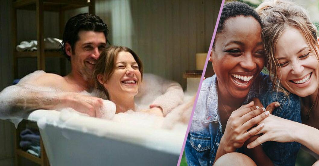Lyckliga par badar och skrattar