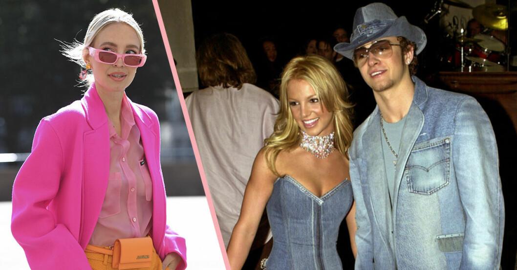 Britney Spears och Justin Timberlake samt rosa solglasögon