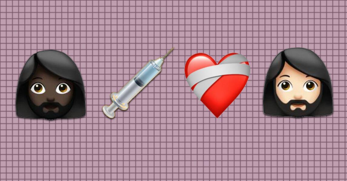 Två kvinnor med skägg och en vaccinspruta och ett hjärta
