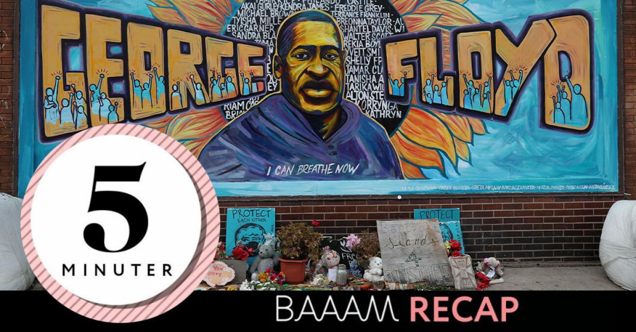 Minnesplats för George Floyd som dödades av polisen Derek Chauvin i maj 2020 och texten: Baaam recap.