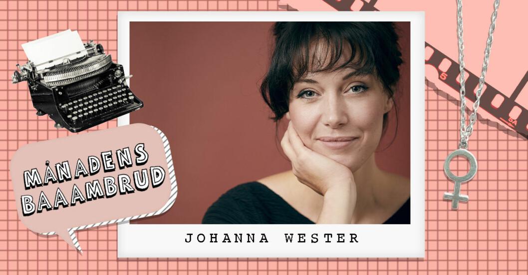 Johanna Wester som har skrivit boken Catfight om kvinnlig osämja jämte en kvinnosymbol och en skrivmaskin.