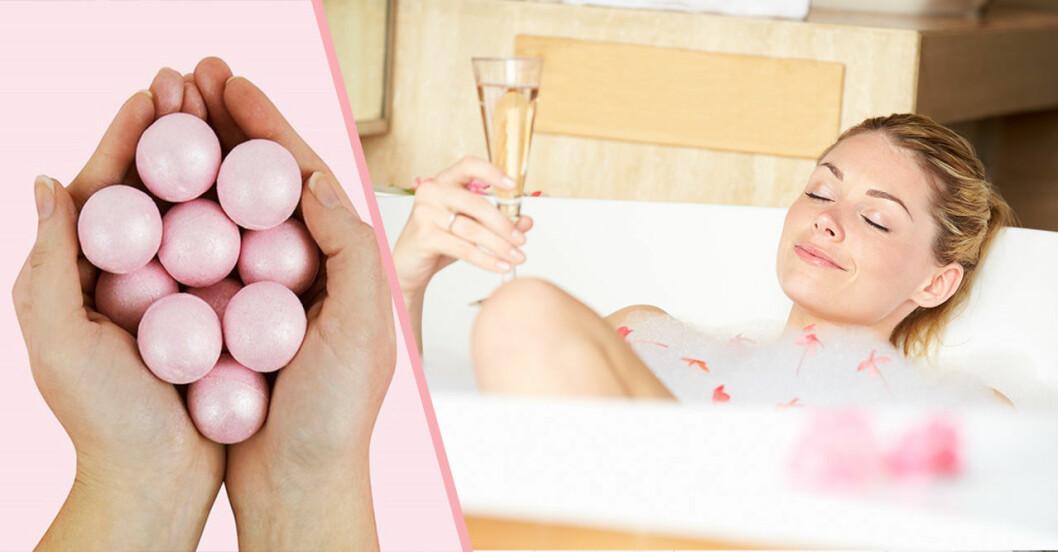 rosa badbomber med doft av rosévin