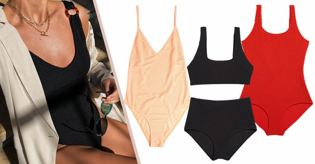 Baddräkt och bikinis med rynkat tyg för dam till sommaren 2020