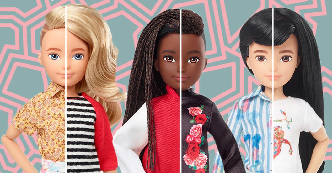 Könsneutral Barbie med olika hudfärg!