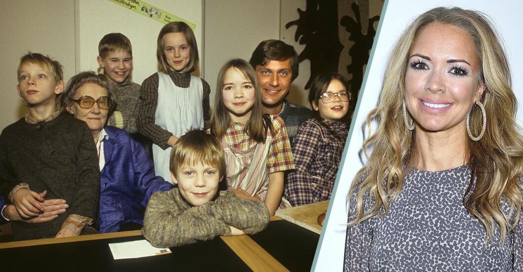Skådespelarna i Alla vi barn i Bullerbyn tillsammans med Astrid Lindgren och Anna Sahlin i dag.