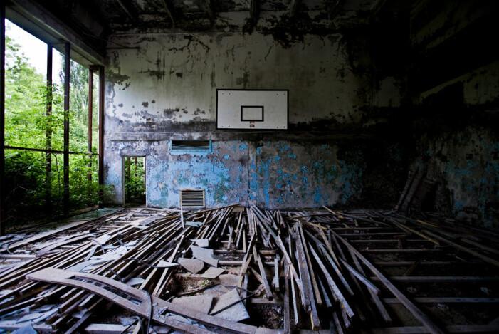 En övergiven baskethall i Pripjat nära Tjernobyl.