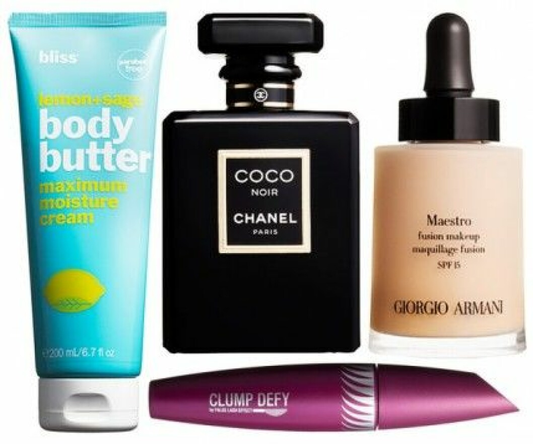 Bliss body butter, Chanel parfym, Giorgio Armani foundation, Max Factor mascara.