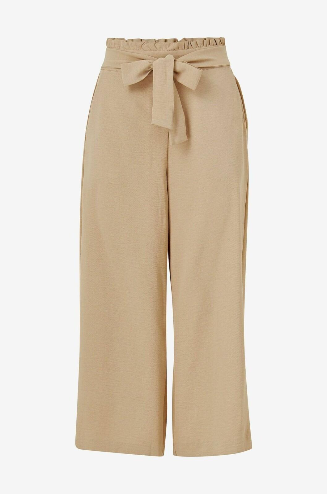 Beige byxor med hög midja och knytband för dam till 2020