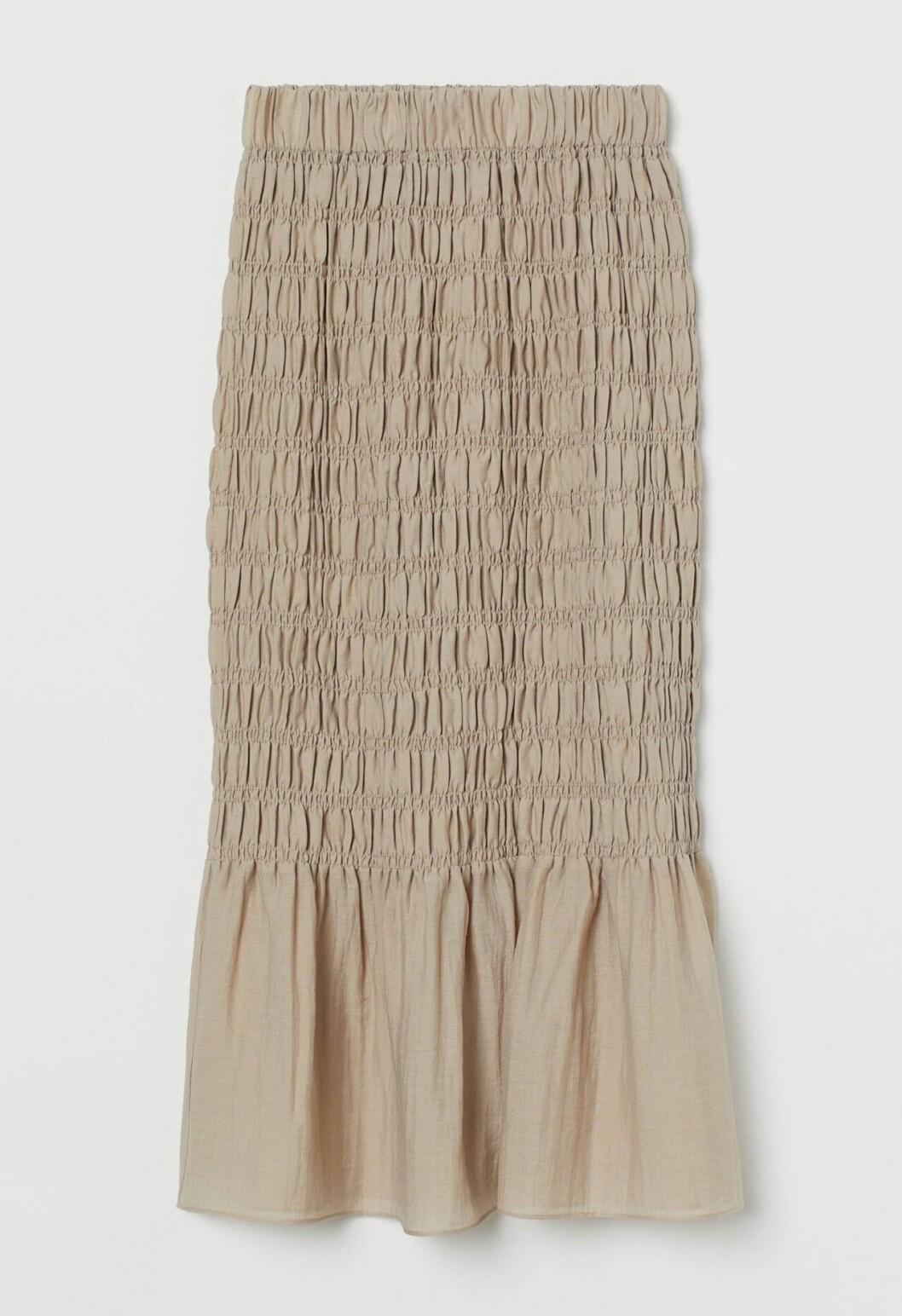 Beige smockad kjol för dam till 2020