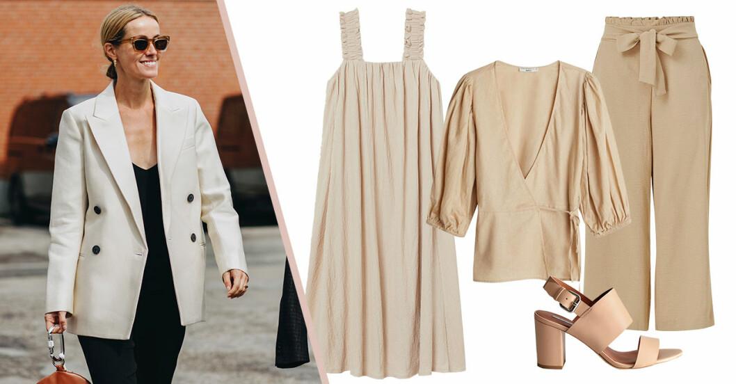 Beige sommarkläder på rea –klänningar, blusar, byxor och shorts