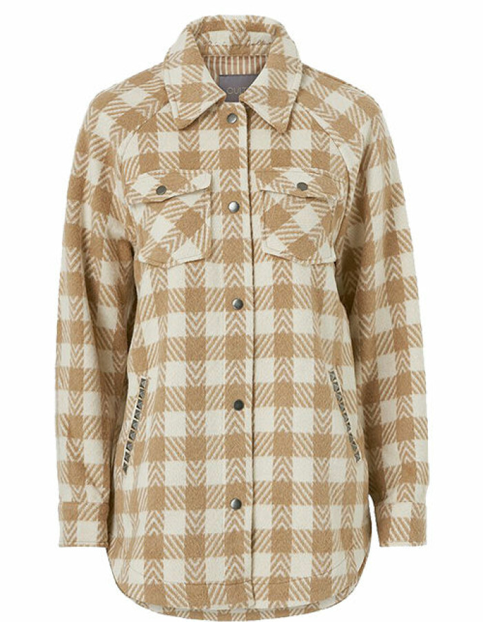 beige rutig skjortjacka
