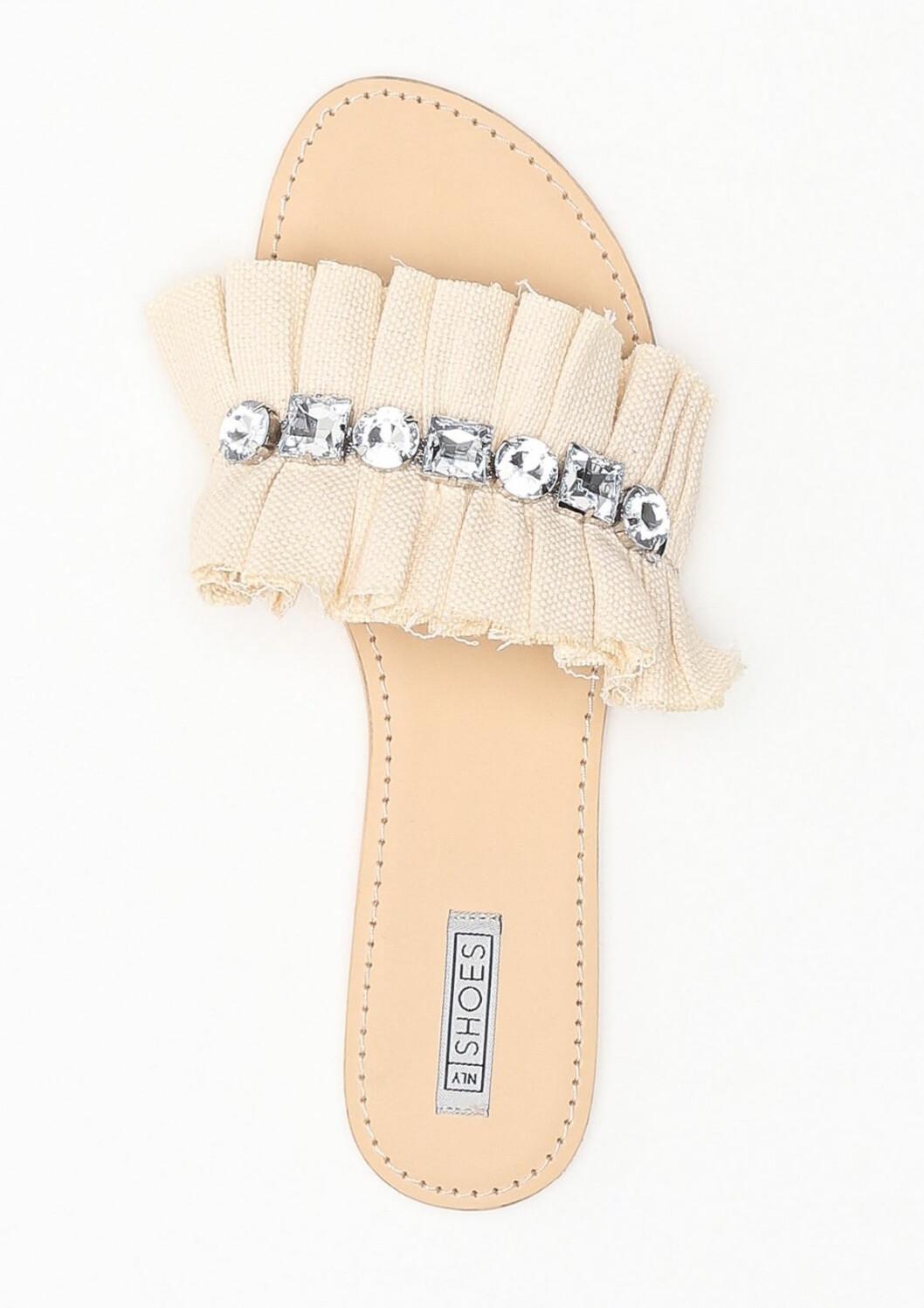 Beige sandaler med strass för dam till 2019