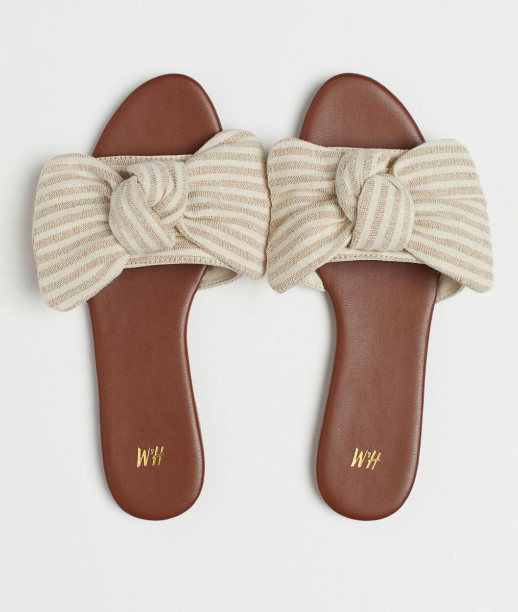 Beige sandaler med rosett för dam till 2019