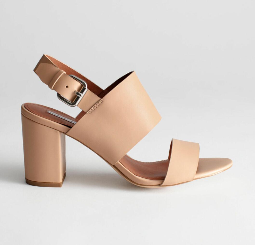 Beige sandaletter med bred klack för dam till 2020
