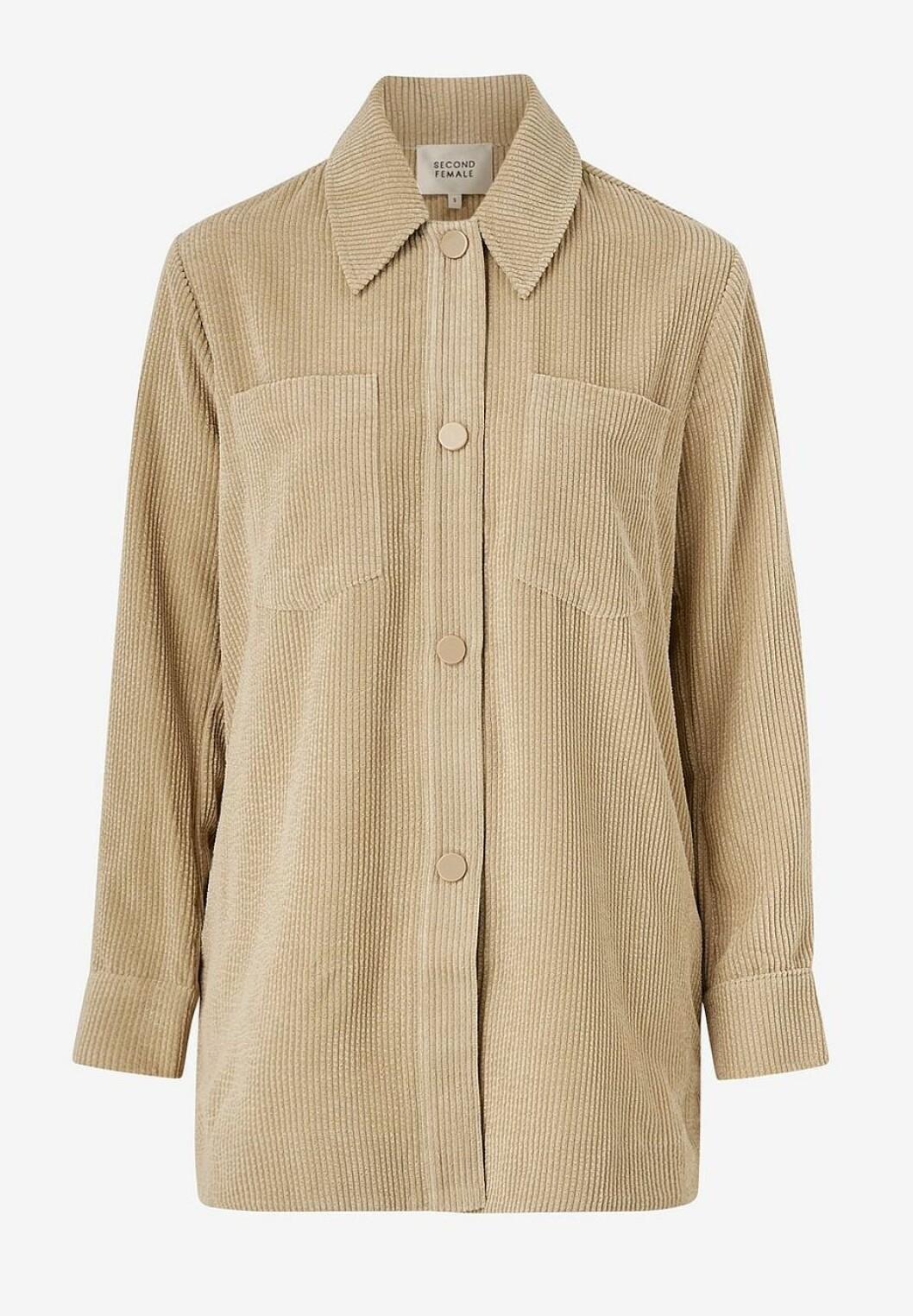 Beige manchesterskjorta i oversize-modell för dam till 2020