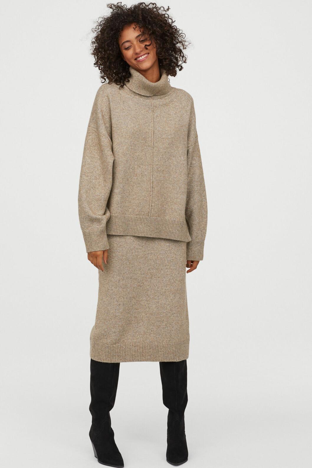 Beige stickad kjol för dam till hösten 2019 från H&M
