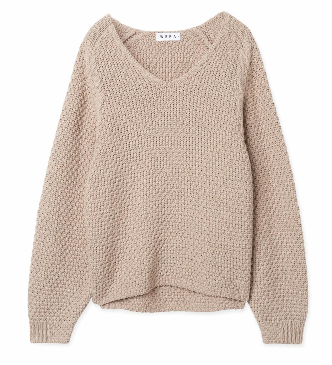 Beige stickad tröja för dam till hösten 2019