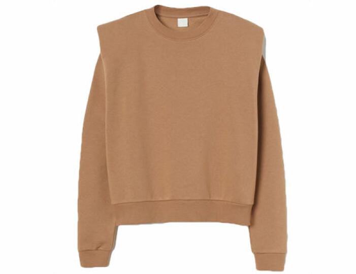Beige sweatshirt med axelvaddar från H&M