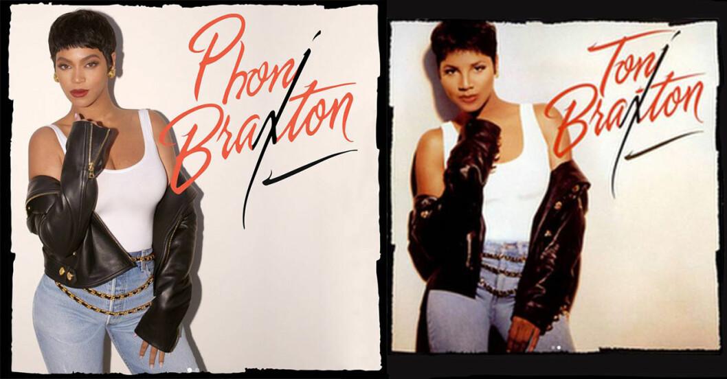 Beyoncé i 90-talskläder, utklädd till Toni Braxton, och originalfoto på Toni Braxton som Beyoncé försöker efterlikna.