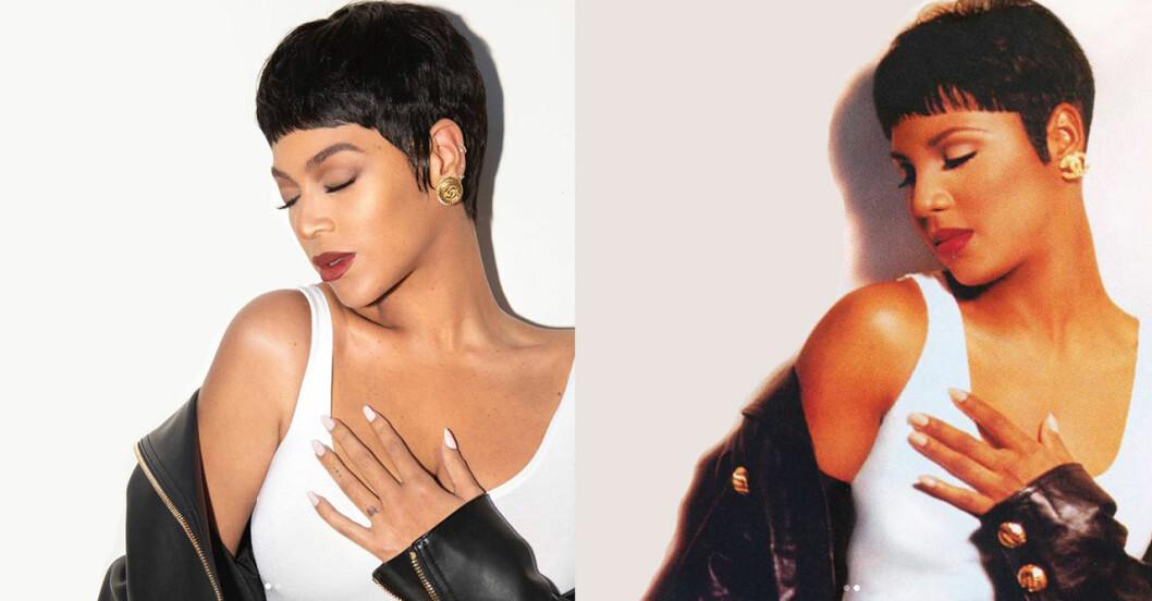Beyoncé som Toni Braxton bredvid originalbilden av Toni Braxton.