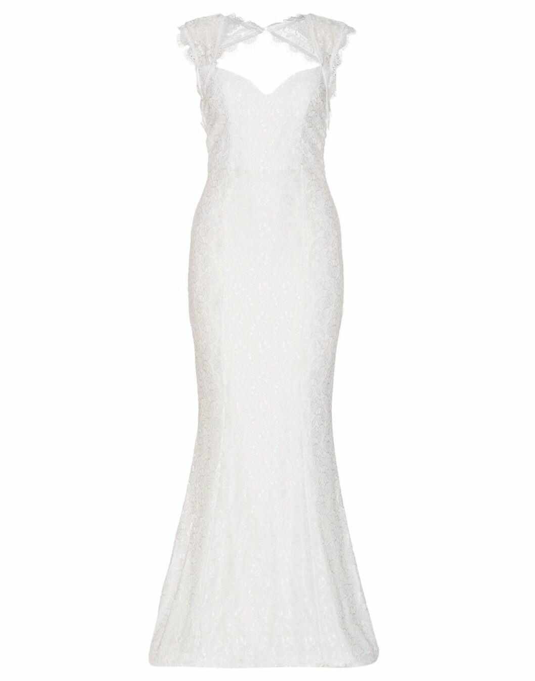 Billig bröllopsklänning i spets med kort ärm 2019