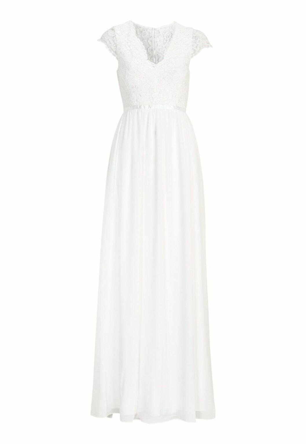 Billig brudklänning med spets och öppen rygg till 2019
