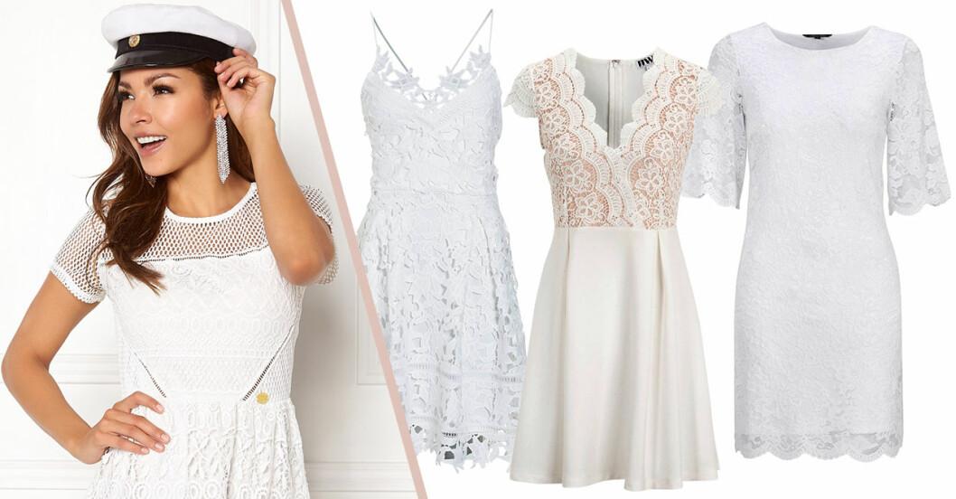 Billiga studentklänningar 2019 vita klänningar med spets