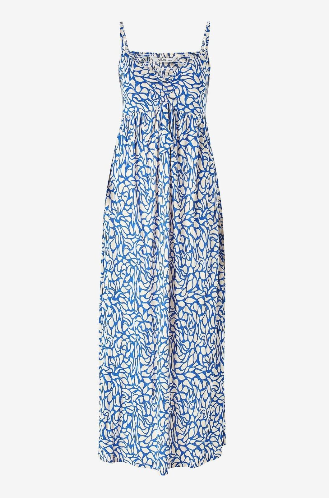 Blåblommig klänning med tunna band för dam till 2020