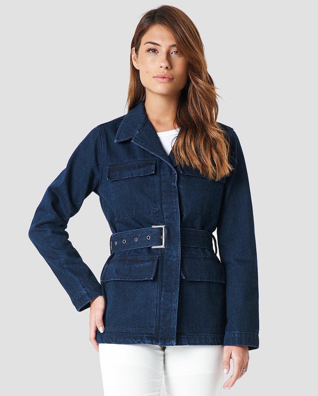 Blå jeansjacka med skärp för dam till 2019