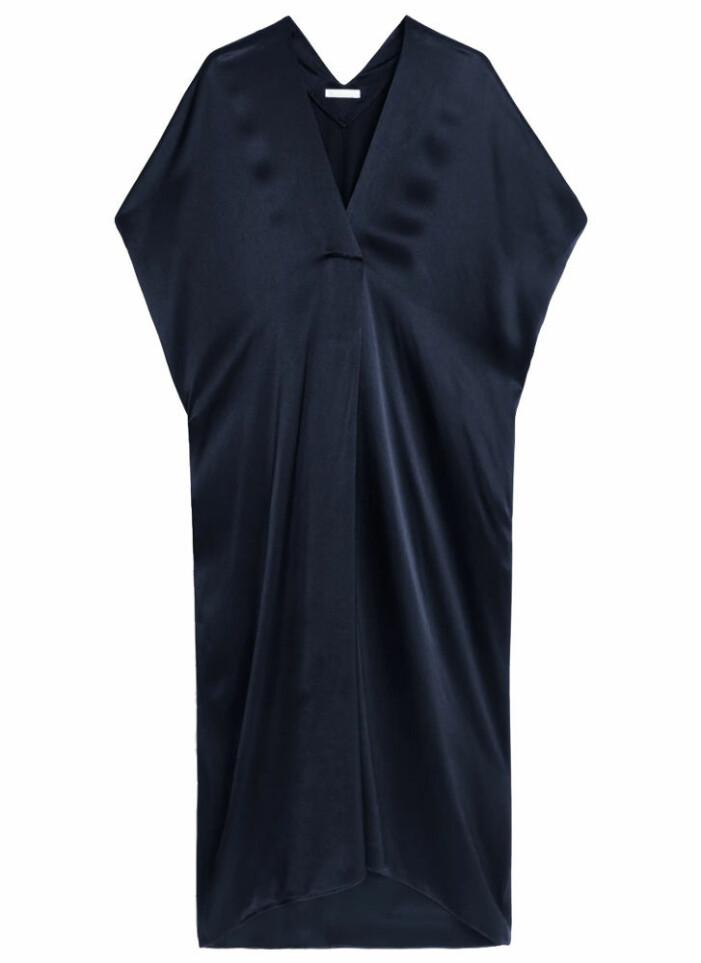 mörkblå klänning kaftan från arket